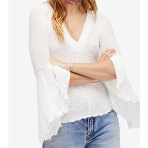 Free People Ribbed Bell Sleeve Peasant Top White
